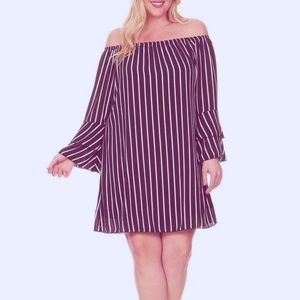 Dresses & Skirts - Navy striped off the shoulder dress plus size